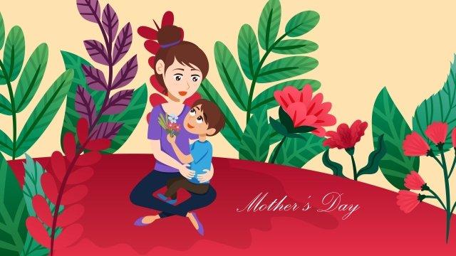 母親節插圖親子母愛 插畫素材 插畫圖片
