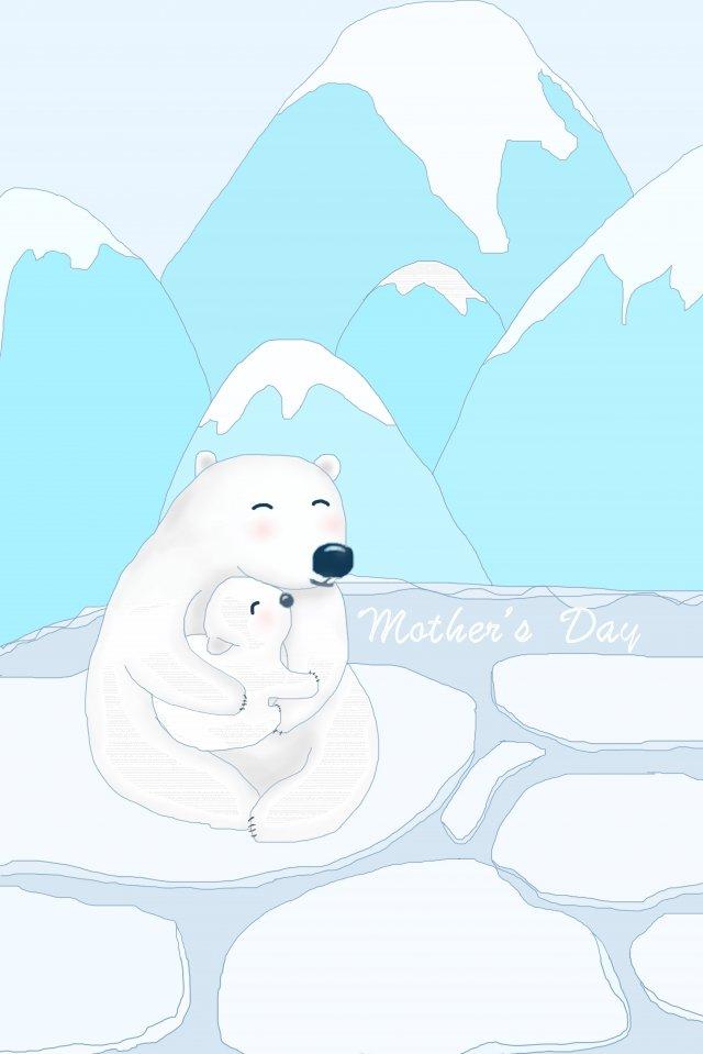 mothers day illustration polar bear mom llustration image