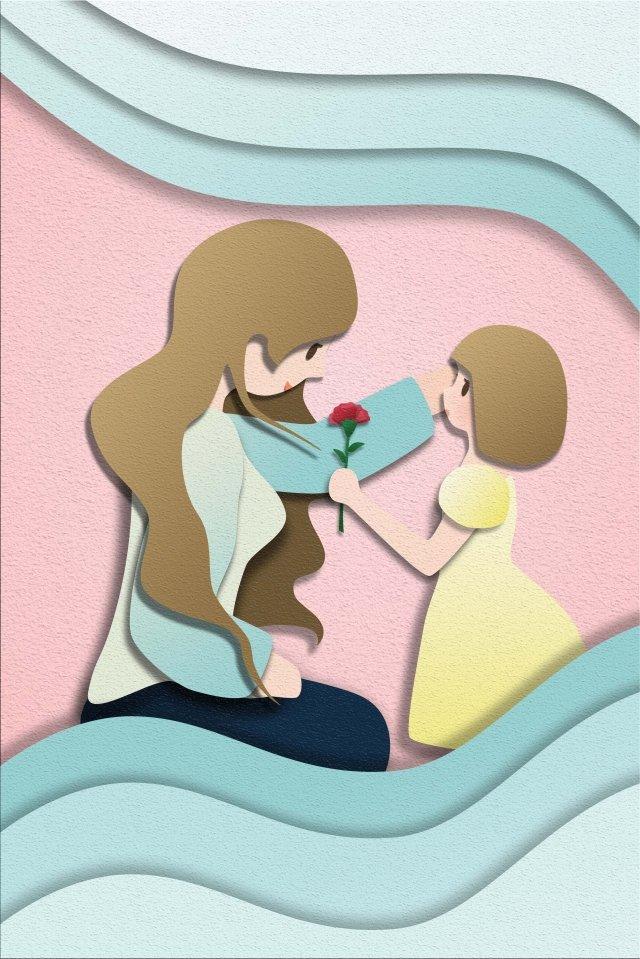 एक स्कर्ट में माताओं दिन छोटी लड़की फूल कार्नेशन भेजें चित्रण छवि