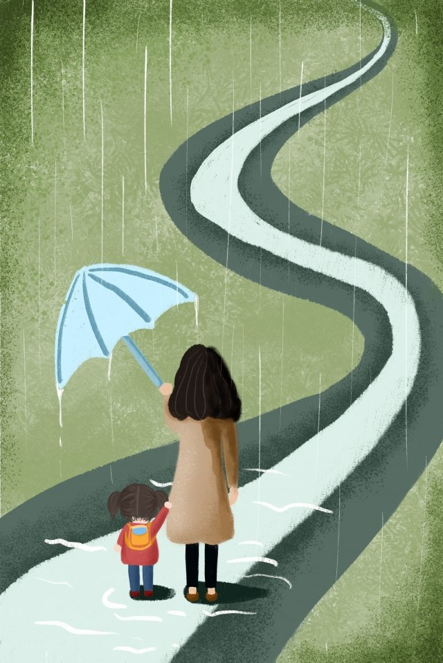 mothers day mother mom child baby, Rain, Summer, Umbrella illustration image
