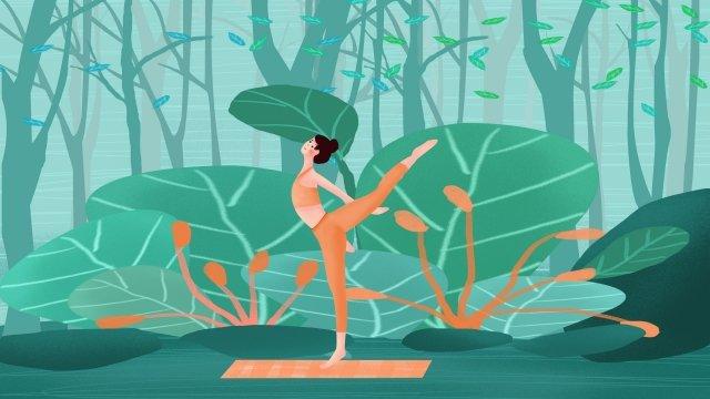 motion fitness yoga girl llustration image