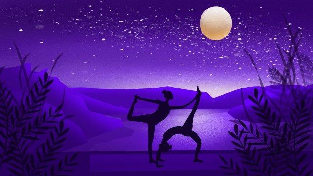 motion fitness yoga silhouette llustration image