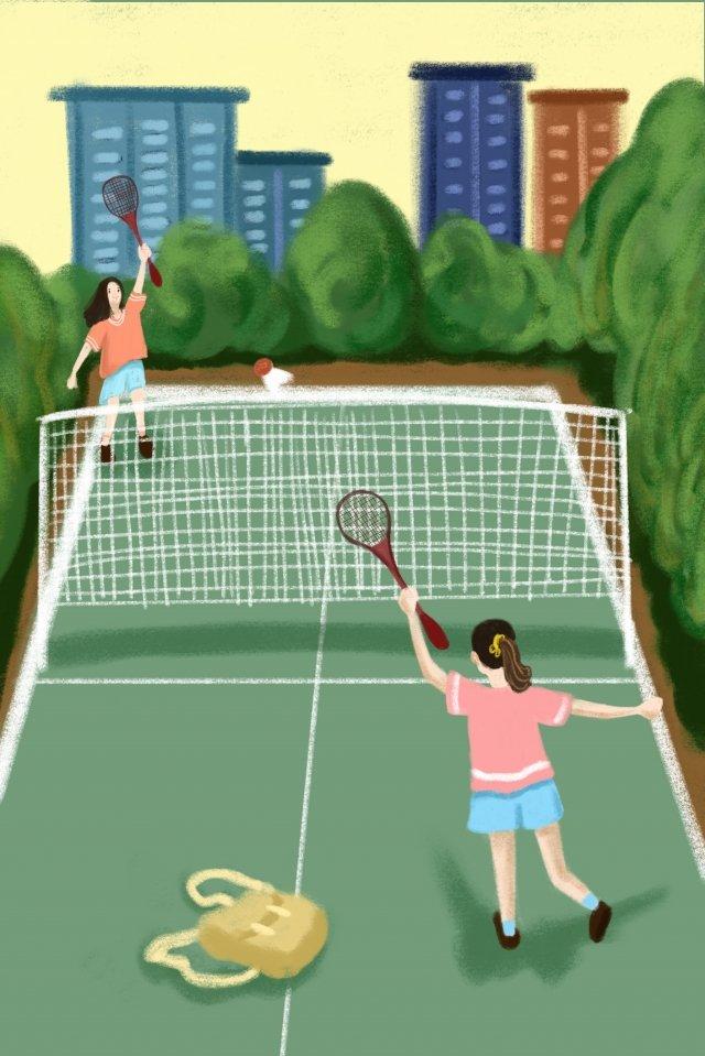 गति शारीरिक शिक्षा बैडमिंटन आउटडोर खेलते हैं चित्रण छवि