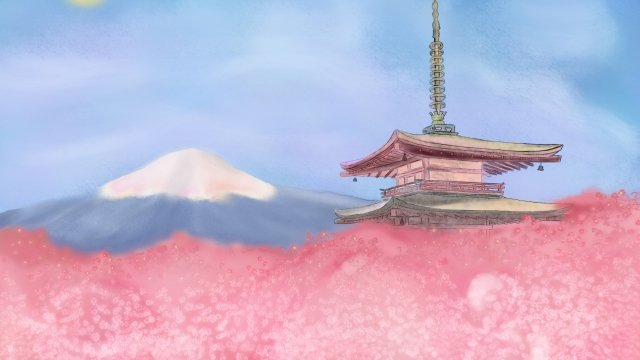 mount fuji ancient building cherry blossoms light color llustration image illustration image