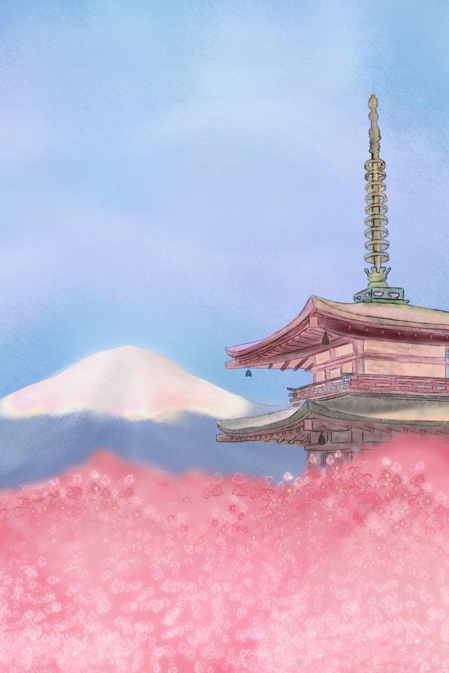 富士山古建築桜ライト色 イラスト素材