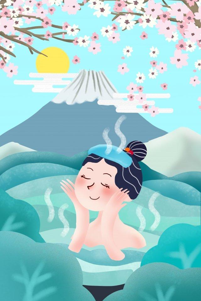 富士山温泉桜 イラスト素材