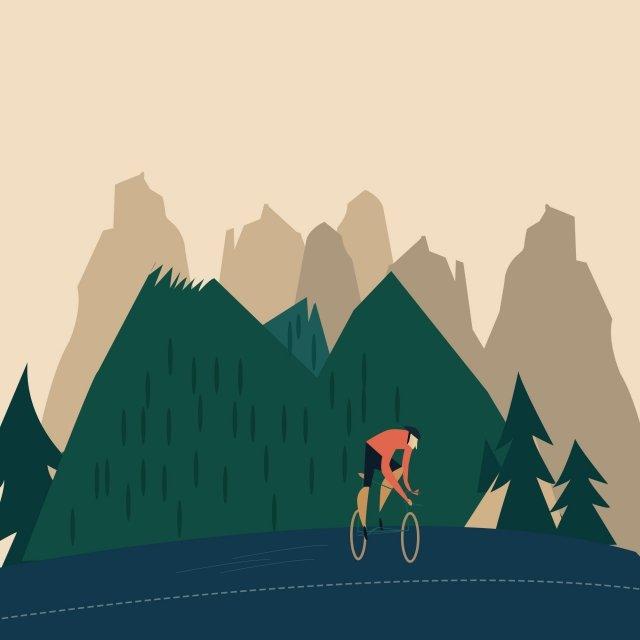 mountain highway handsome guy bicycle, Trees, Grassland, Orange illustration image
