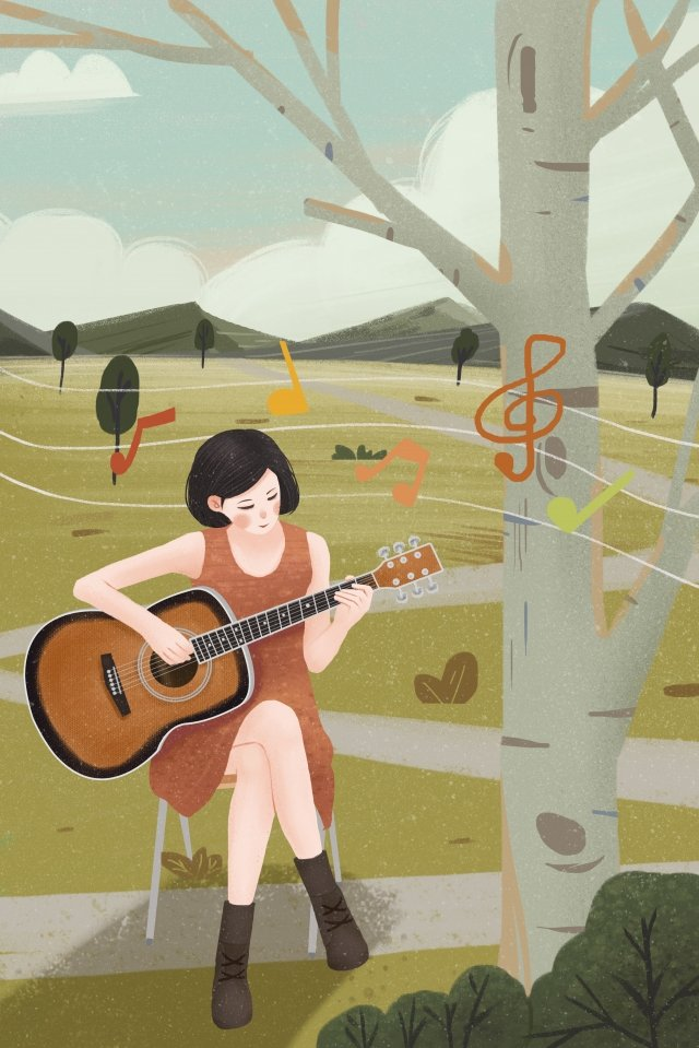 music musical instrument girl guitar llustration image