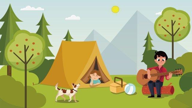 음악 야외 여름 아름다운 그림 삽화 소재 삽화 이미지