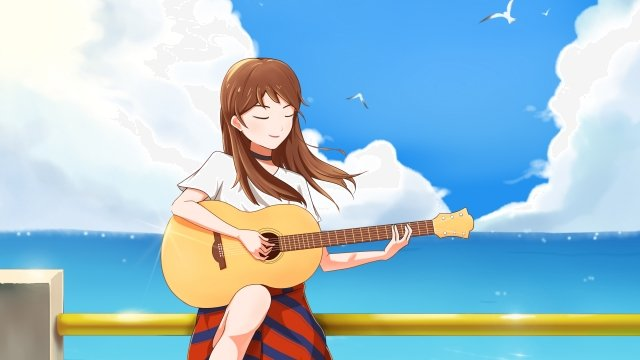 music playing guitar blue sky background sky white clouds, Sea, Blue Background, Musical Instrument illustration image