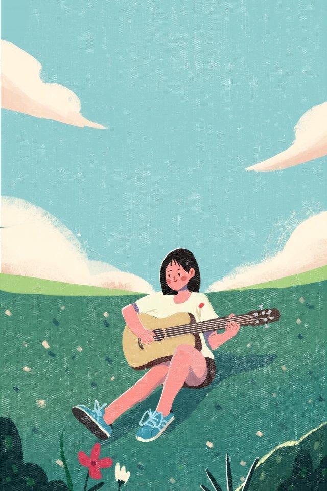 music playing guitar grassland girl llustration image