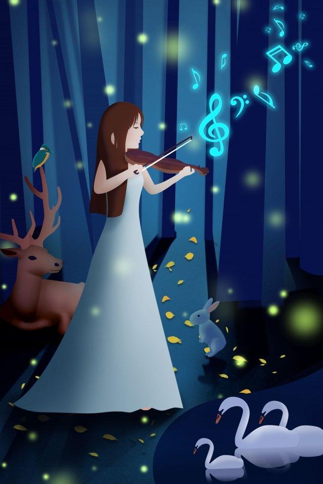 música tocando instrumento musical beleza Material de ilustração Imagens de ilustração