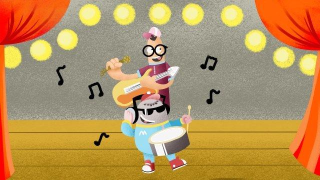 音樂演奏樂器吉他 插畫素材 插畫圖片