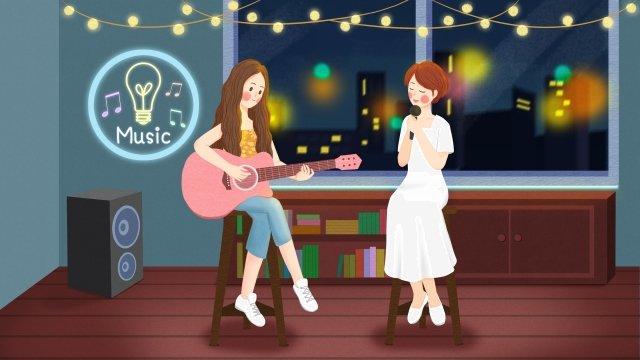 音楽を弾くギターを弾く10代の少女 イラストレーション画像