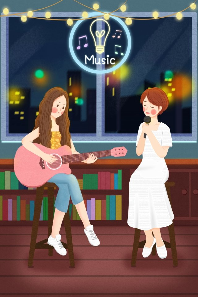 音楽を弾くギターを弾く10代の少女 イラスト画像