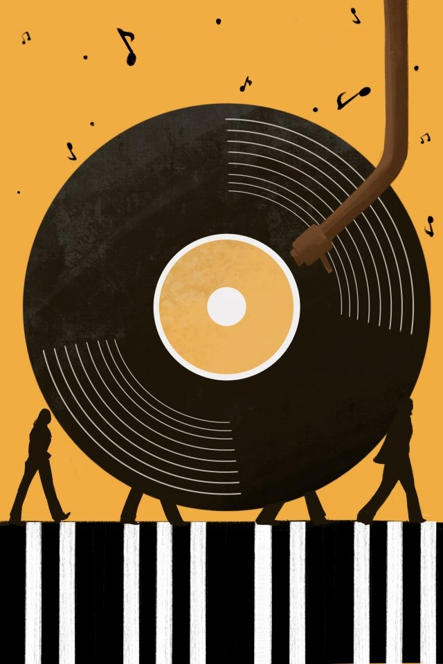 music vinyl records  character, Walk, Play Music, Musical Note illustration image