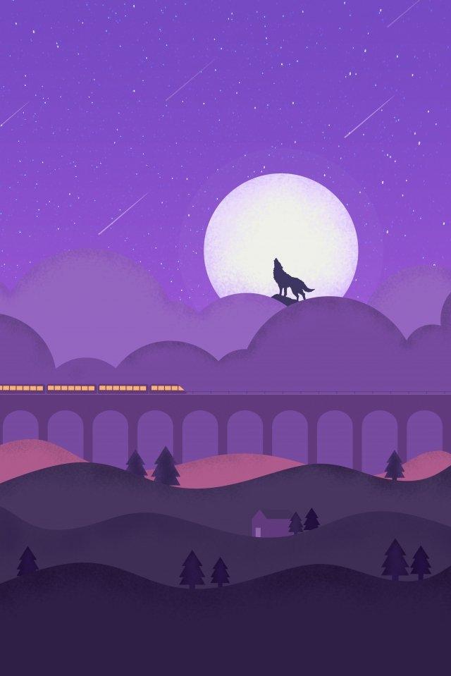 mysterious moon night wolverine train llustration image illustration image