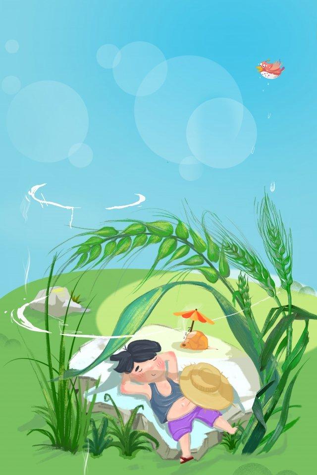 仮眠晴天フィールド小麦の穂 イラスト素材 イラスト画像