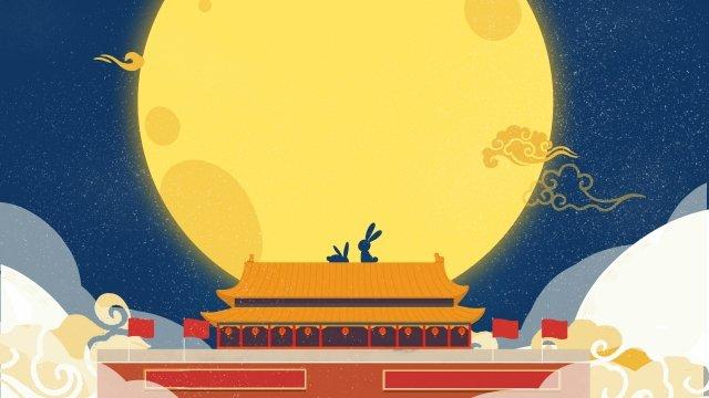 国民の日半ば秋ラウンド月月ウサギ イラスト素材