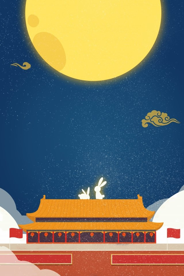 national day mid autumn round moon moon rabbit llustration image