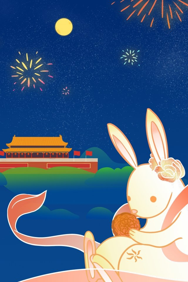 国民の日半ば秋ラウンド月月ウサギ イラスト画像