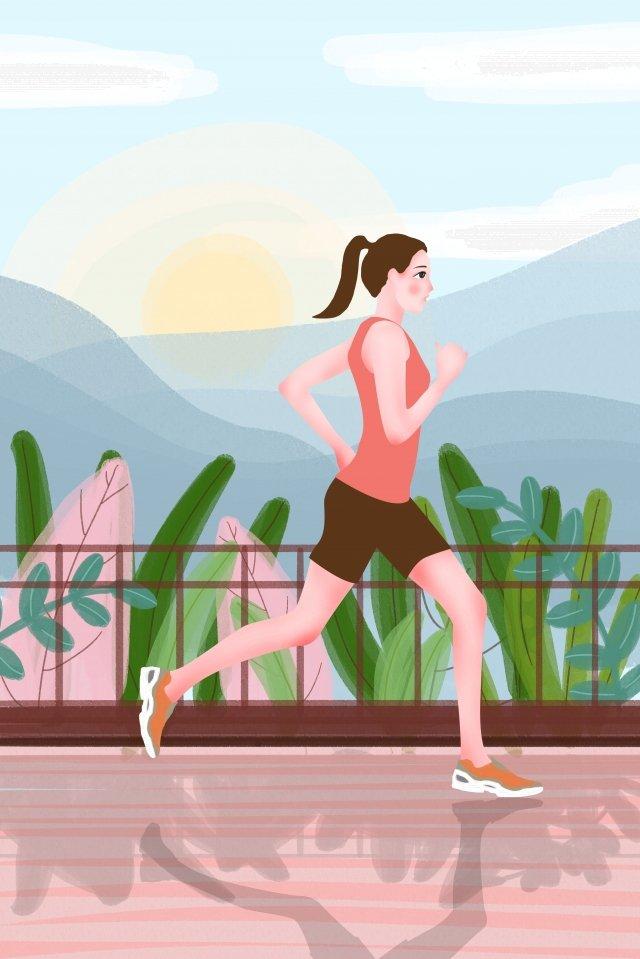 全國健身日清晨戶外跑步 插畫素材