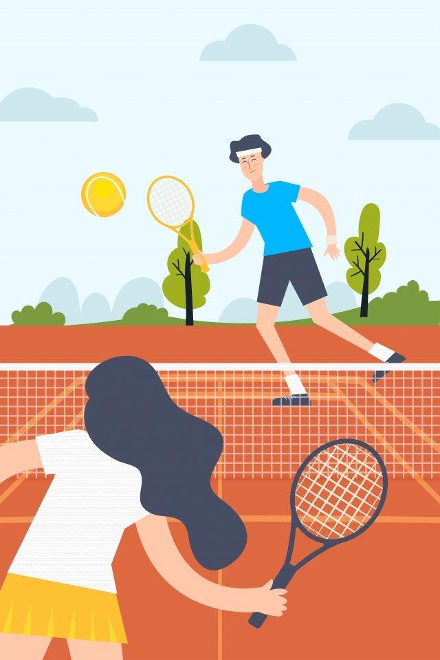национальный фитнес игра в теннис двойной теннис теннисный корт Ресурсы иллюстрации