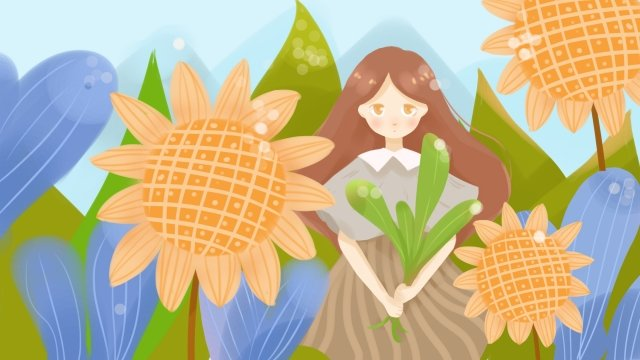 natural environmental protection protection girl llustration image