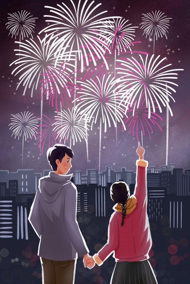 new year 2019 new year couple illustration image