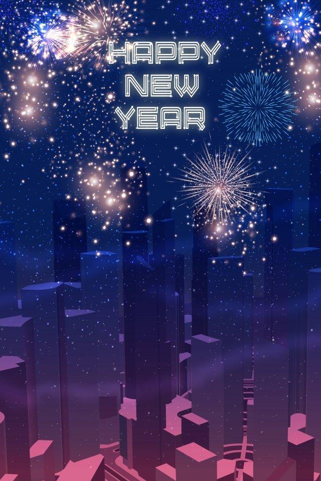 new year happy new year new years cartoon, City Night Scene, Fireworks, 2019 illustration image