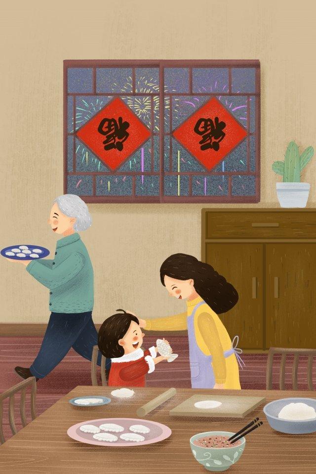 新年新春春まつり餃子 イラストレーション画像