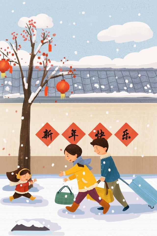 새 해 봄 축제 집으로 돌아와 그림 이미지 일러스트레이션 이미지
