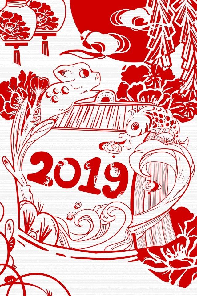 ano novo ano novo 2019 vermelho Material de ilustração