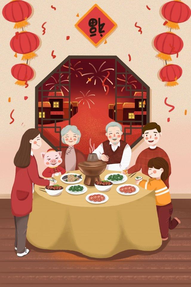 豚の新年新年の新年ランタン イラスト画像