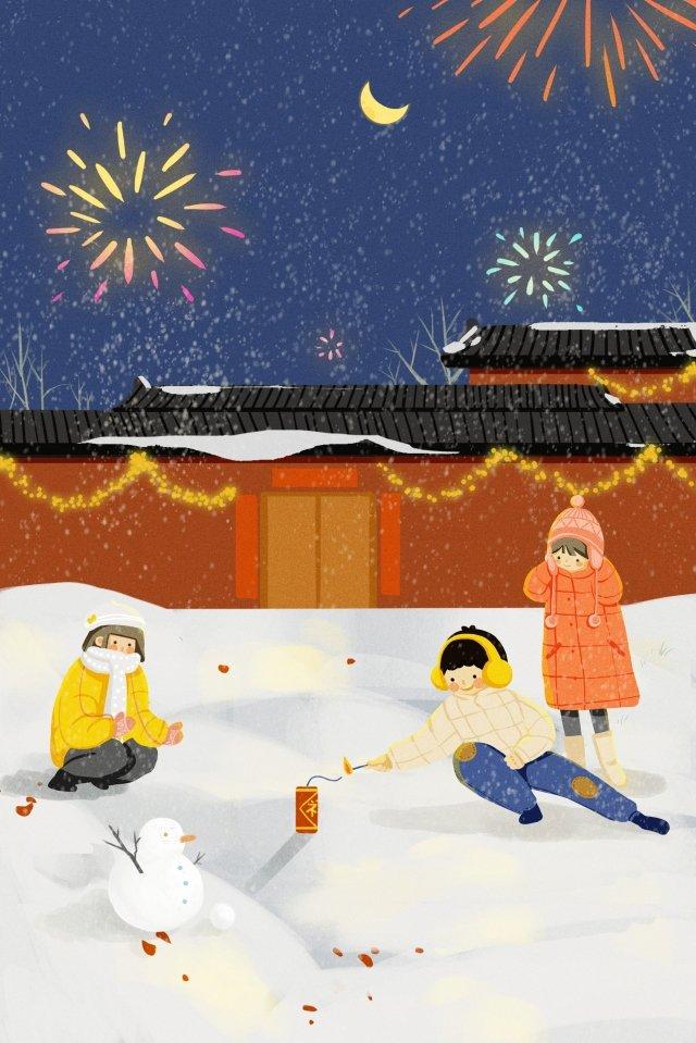 돼지 새 해 새 해 눈이 새 해 삽화 소재 삽화 이미지