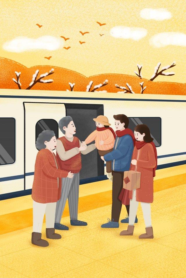 새해 봄 축제 집으로 돌아와 부모님보기 그림 이미지 일러스트레이션 이미지
