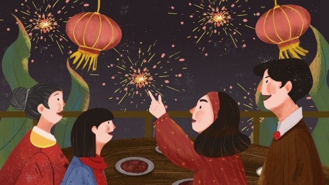 new year spring festival fireworks hand painted, New Years Eve, Reunion, Family illustration image