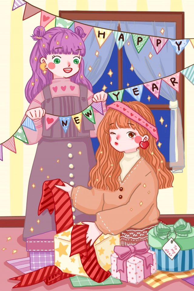 new years day theme new years festival gift llustration image illustration image