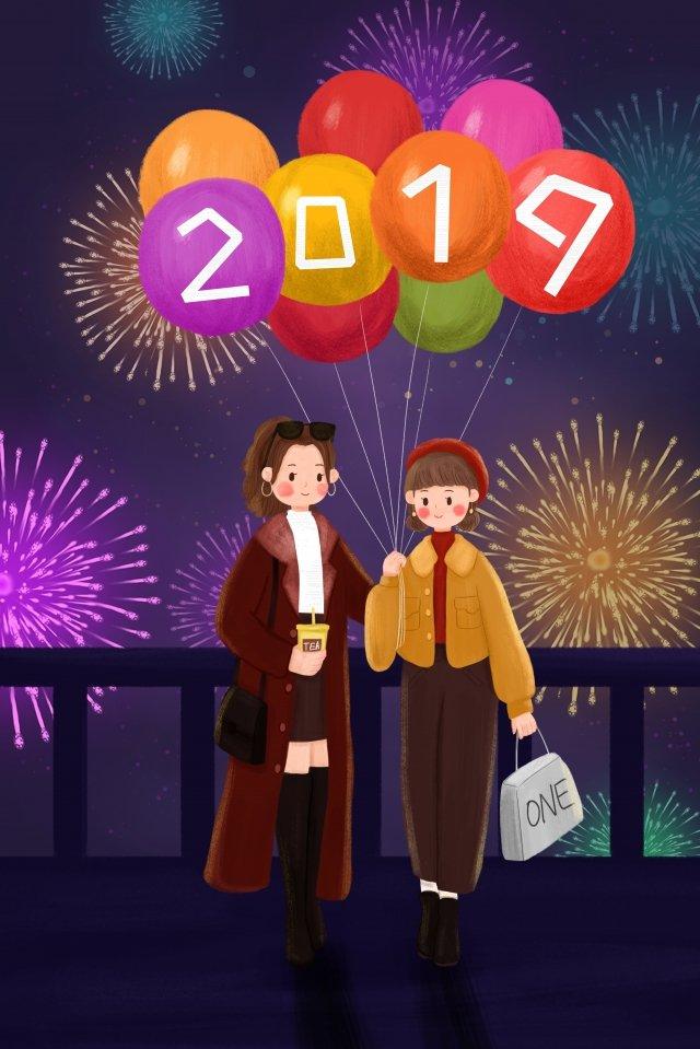 새로운 년 이브 새로운 년 2019 불꽃 놀이 삽화 소재
