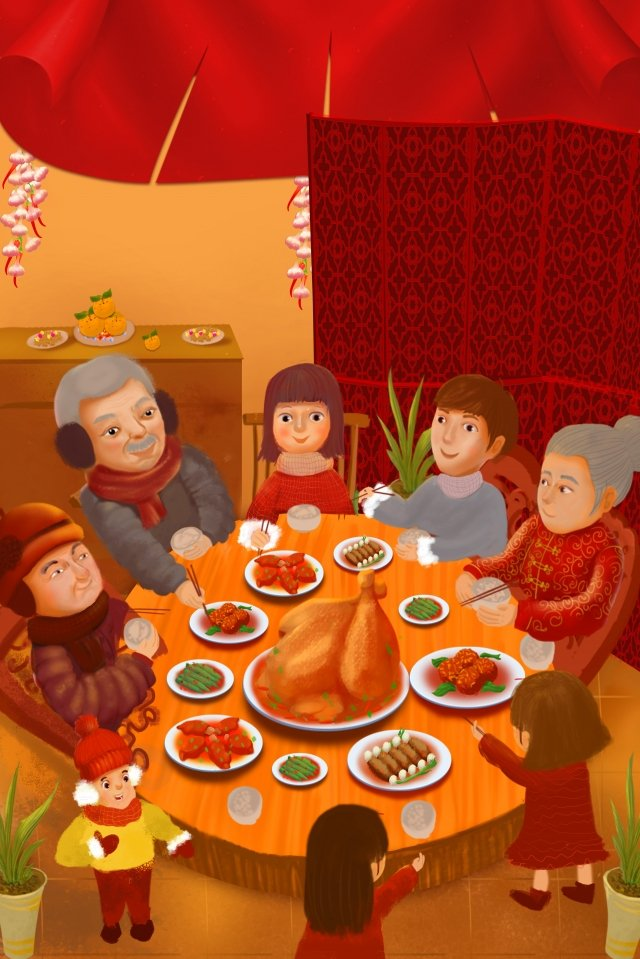 new years eve spring festival new years eve family llustration image