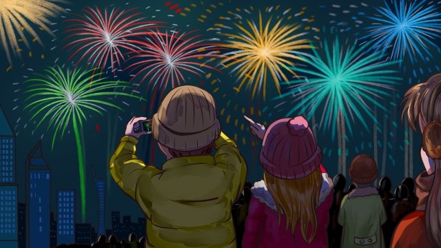 new years festival watch fireworks fireworks llustration image