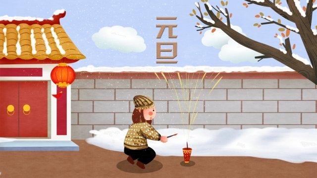 ano novo firecracker festivo em casa Material de ilustração