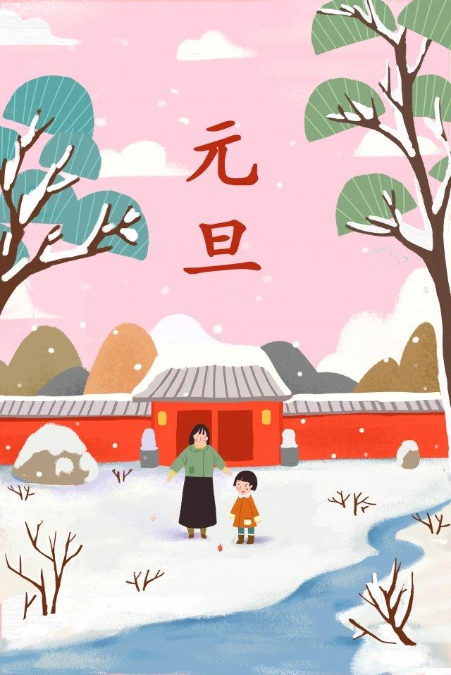 新しい年イラスト雪が降る冬 イラスト素材
