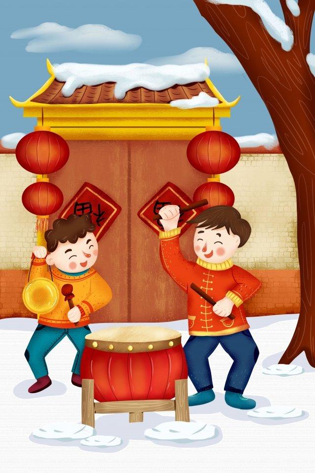새로운 년 봄 새로운 재결합 새해 삽화 소재 삽화 이미지