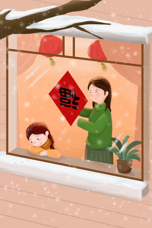 new years new year mother and daughter post window llustration image