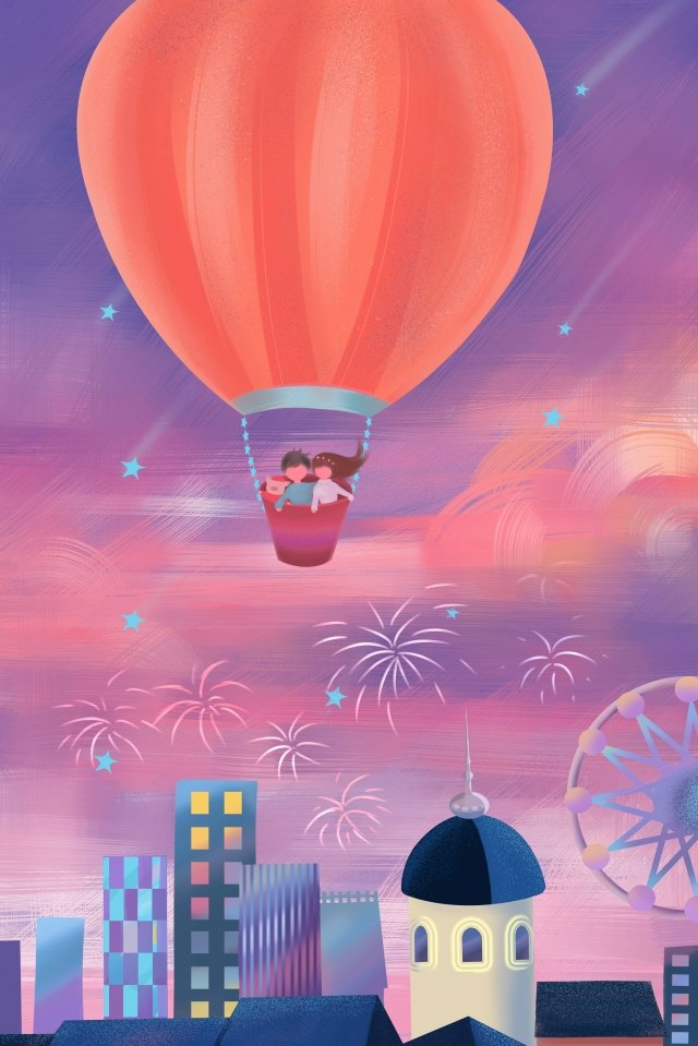 new years tourism watch fireworks hot air balloon, Watching, Fireworks, Hand illustration image