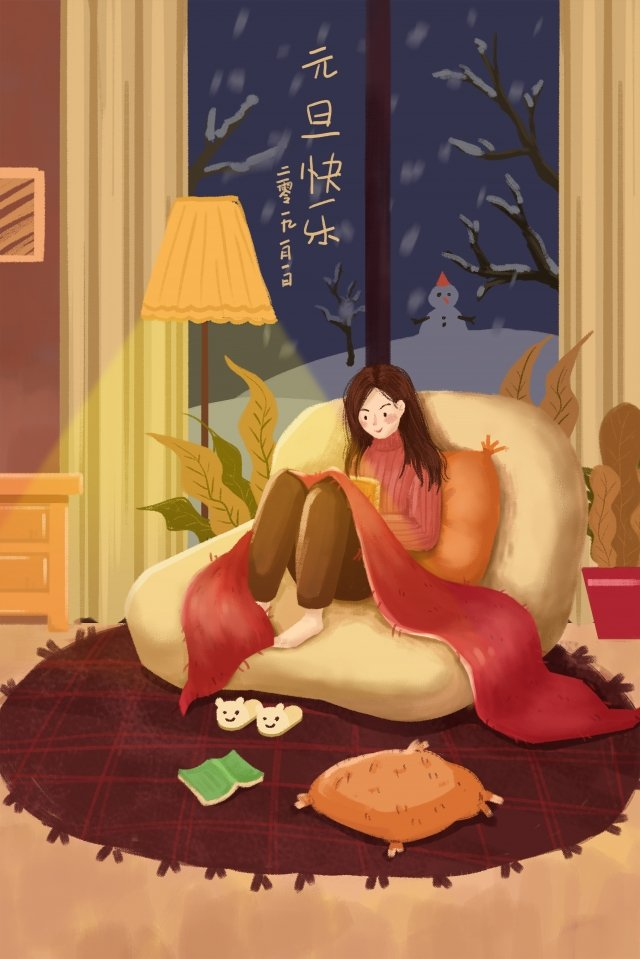new years winter warm new year, Warm, Reading, Snowing illustration image