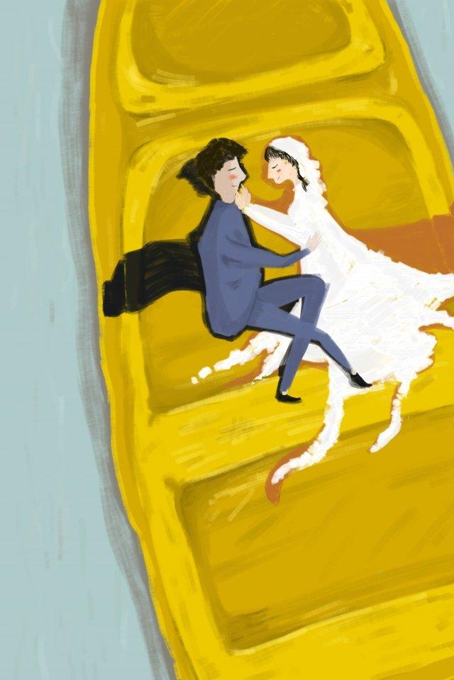 新婚カップルは結婚式を結婚するウェディングドレス、ドレス、イラスト、手描き、シンプル、暖かい、湖の表面、ボート、ミニチュアクリエイティブ、新婚、カップル、結婚、結婚式 PNGおよびPSD illustration image