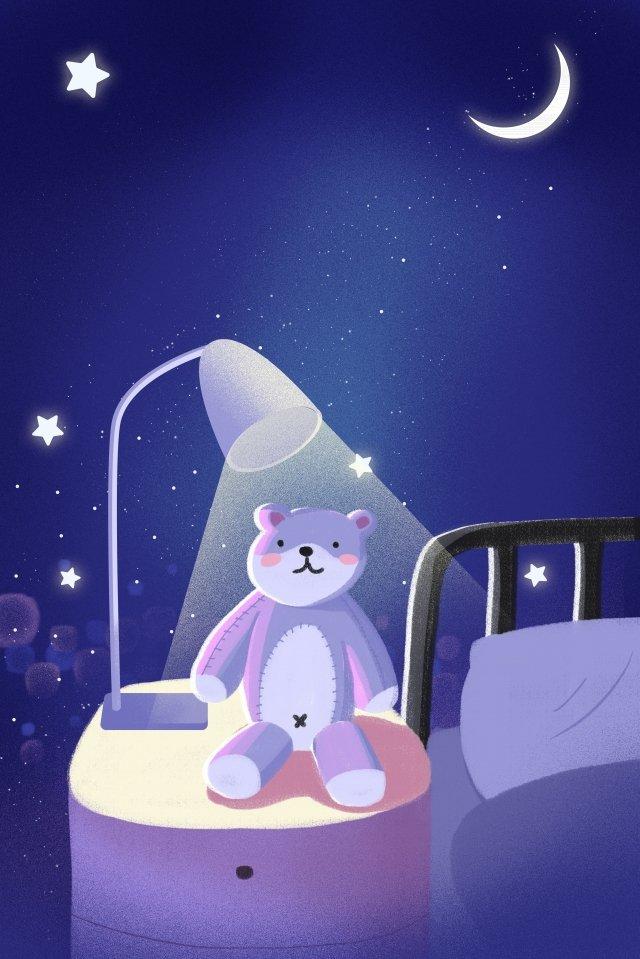 night at night good night fresh, Illustration, Hand Painted, Bear illustration image