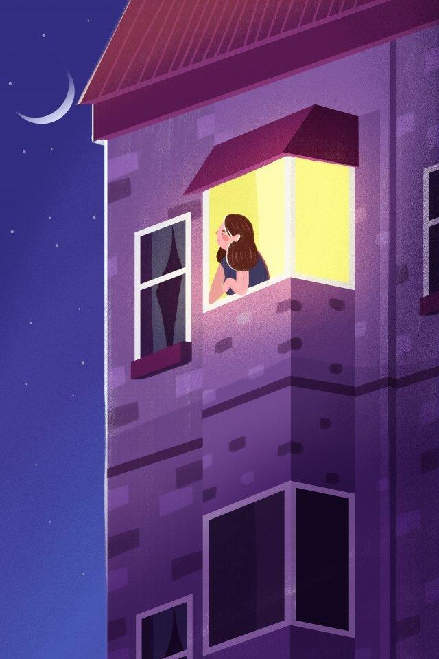 night at night good night fresh, Illustration, Hand Painted, Moon illustration image